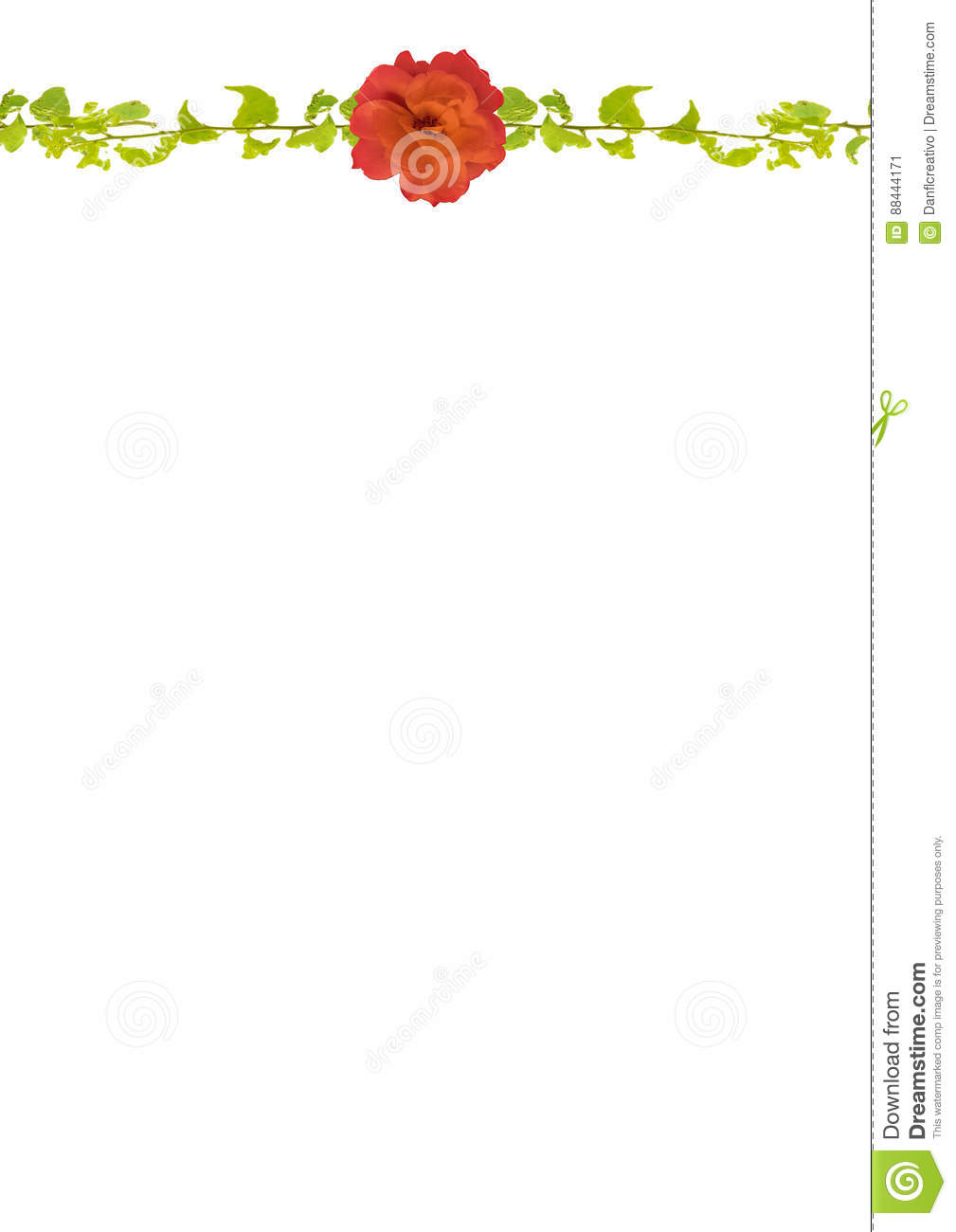 stationery background with decorated floral borders stock