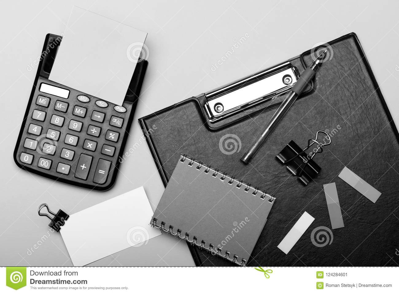 Stationery and calculator business card with binder near sticky download stationery and calculator business card with binder near sticky notes stock image image colourmoves