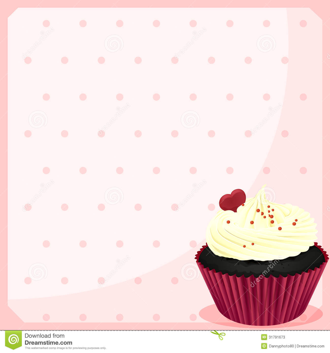 A Stationery With A Chocolate Cupcake With A Heart Stock