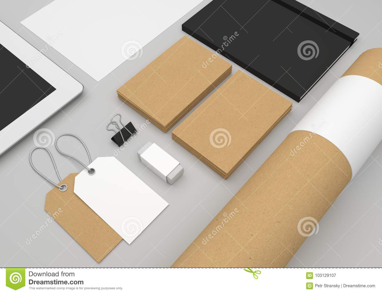 Stationery 3D Illustration Mockup With Business Cards And Fashion ...