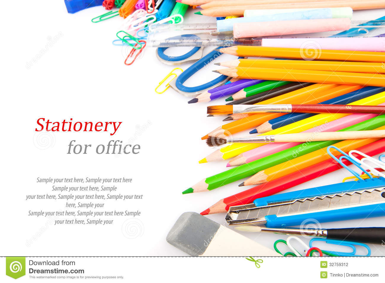 stationery for office stock photography image 32759312 clip art of crayons pencil and paper clip art of crayons black and white