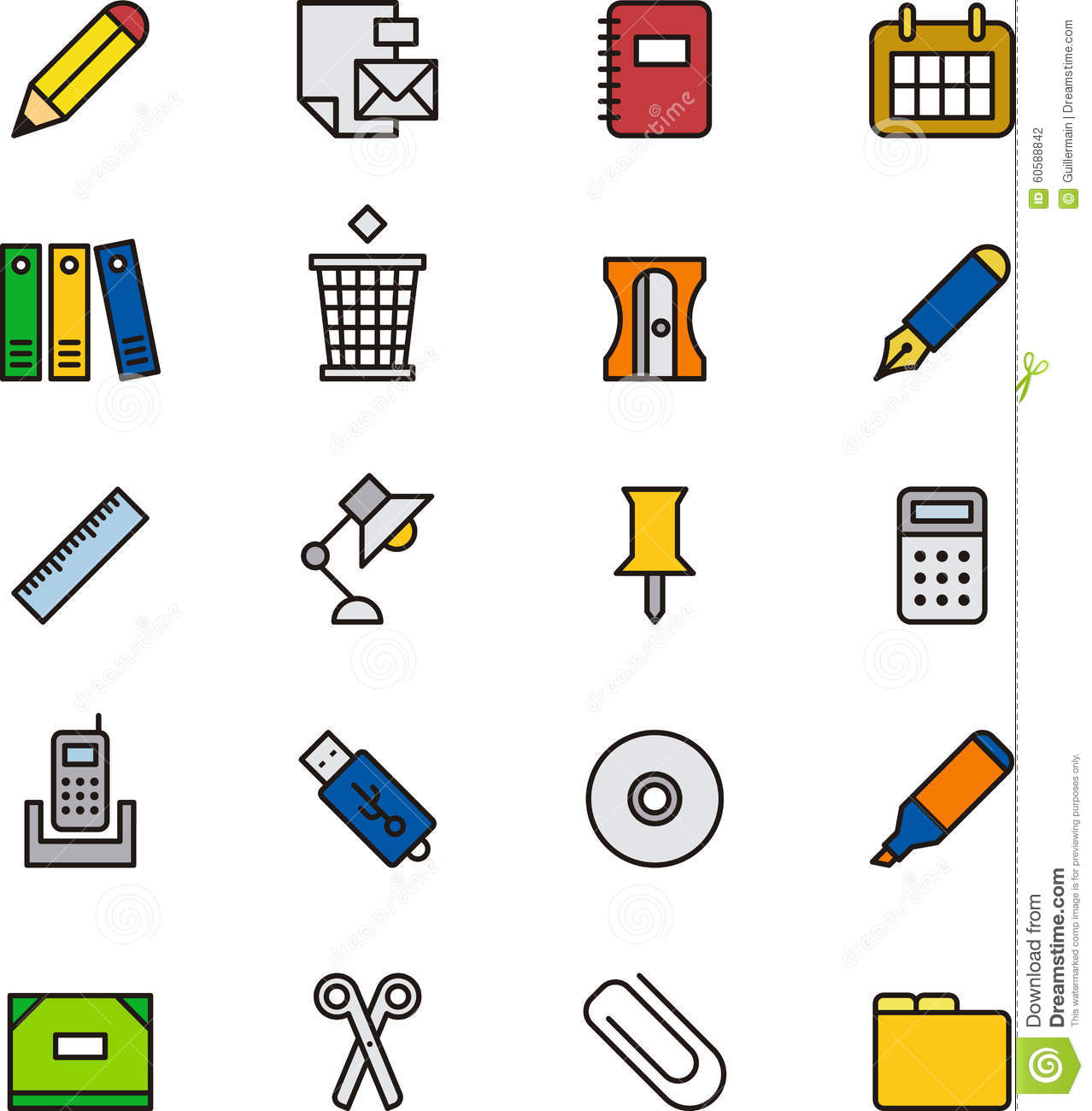 Stationery And Office Supplies Icons Stock Photo Image
