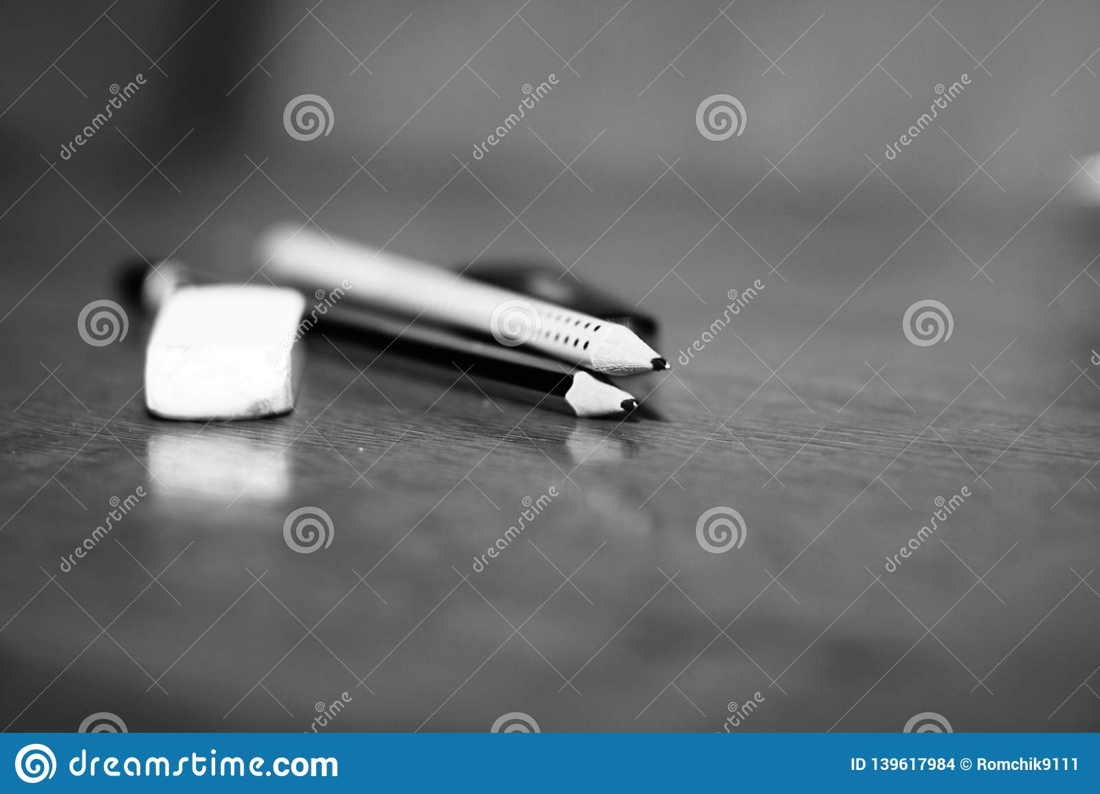 Stationery pencil and eraser