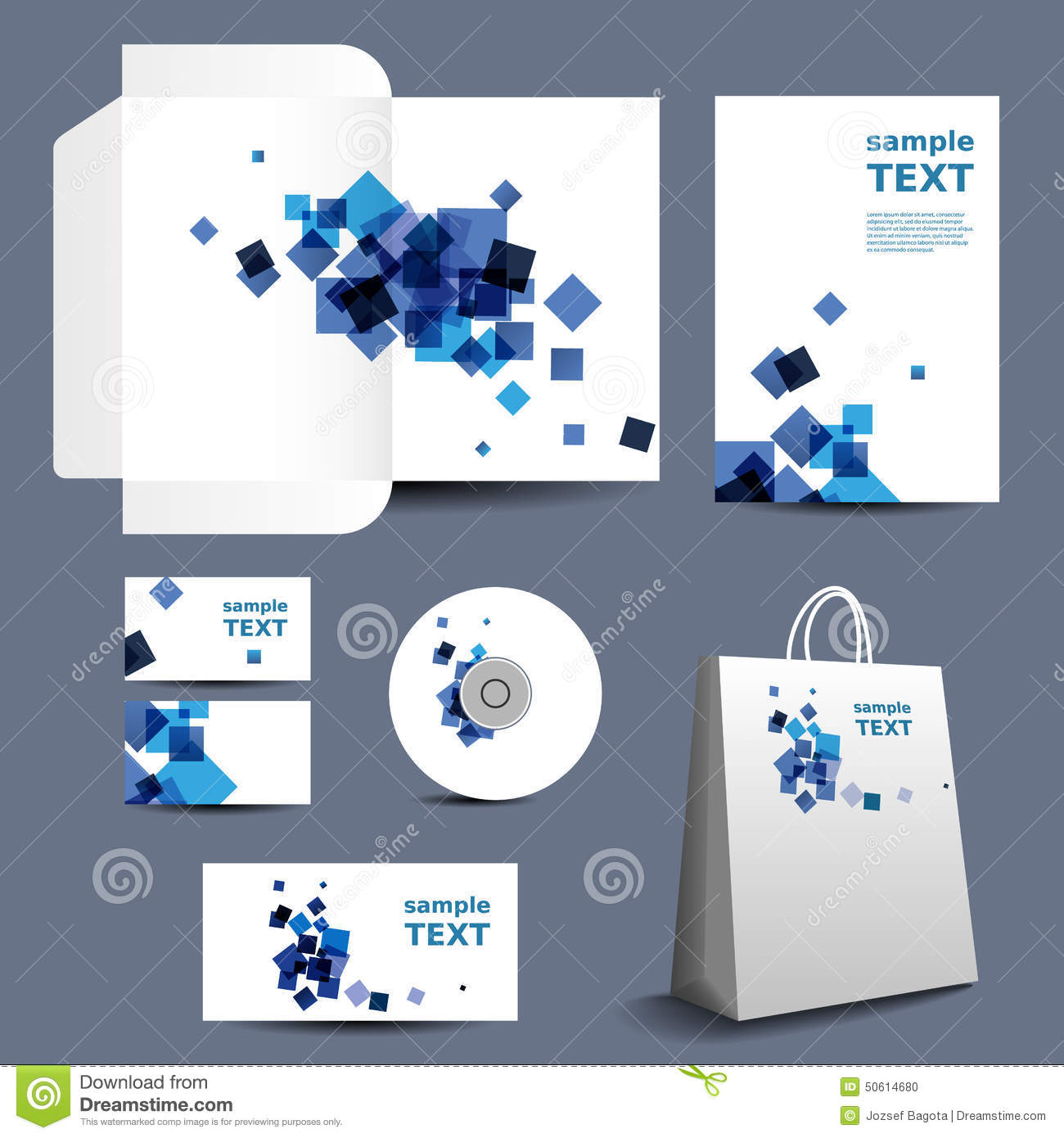 Stationery Template, Corporate Image Design With Abstract