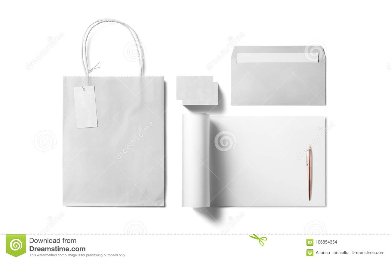 Stationery Template Design With Blank, Name Card, Envelope, Paper ...