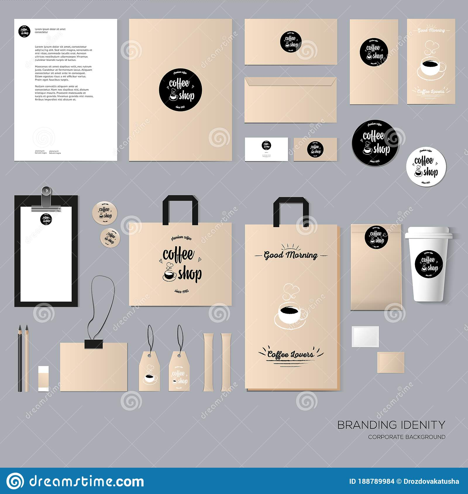 Stationery Template Design With Coffee House Elements With Blank Name Card Envelope Paper Bag Etc Stock Vector Illustration Of Brochure Menu 188789984