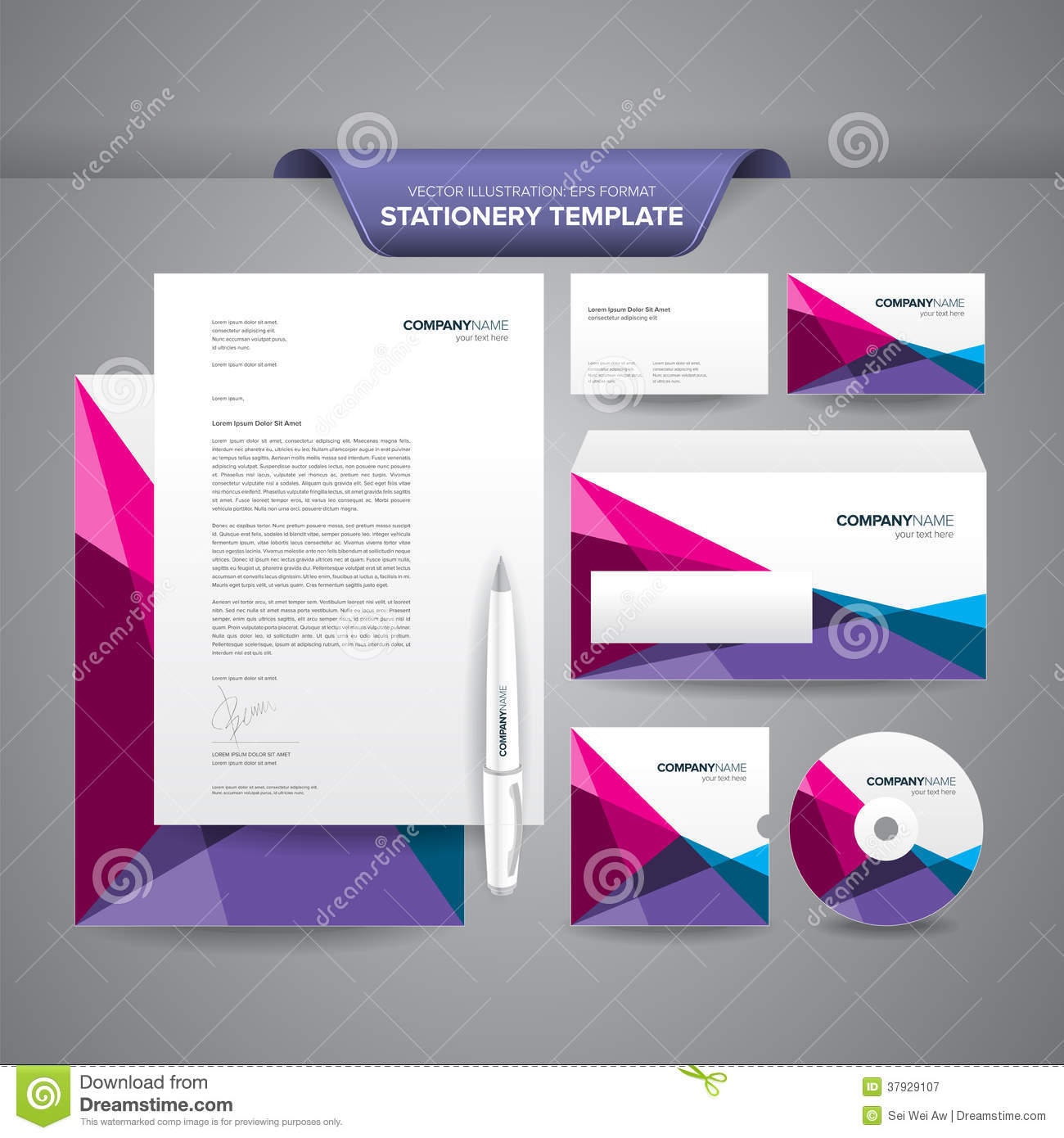 Letterhead Envelopes: Stationery Template Polygonal Stock Vector