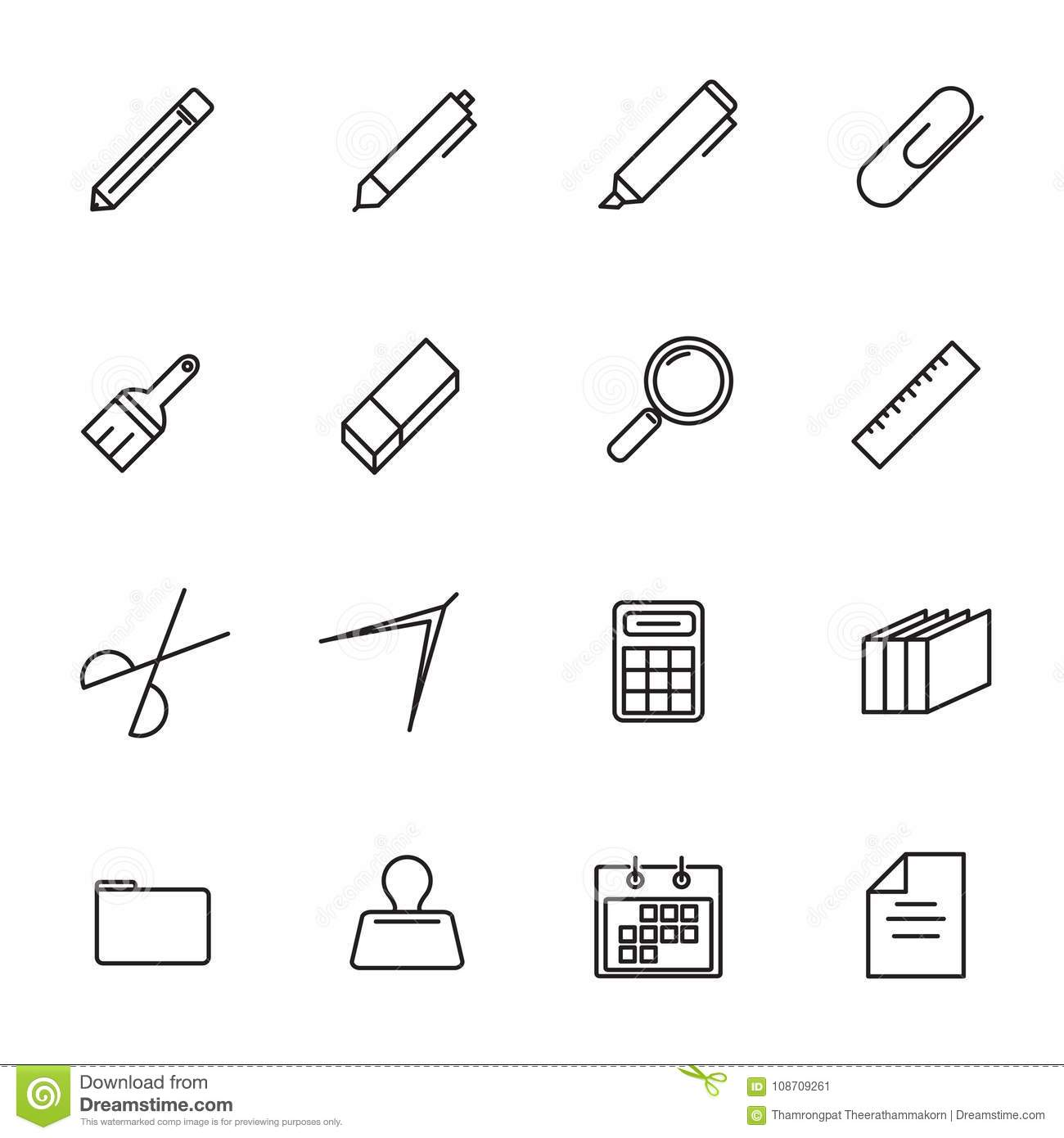Stationery Thin Line Icon Set Vector Back To School And Class R Basic Schematic Of A Classh Configuration