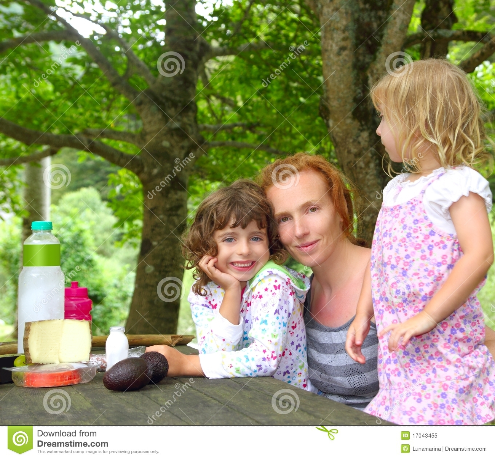 Stationnement extérieur de pique-nique de famille de descendant de mère