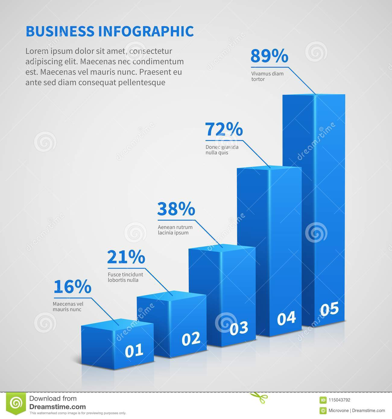 Statistics Business 3d Graph Bar Chart  Vector Infographic With