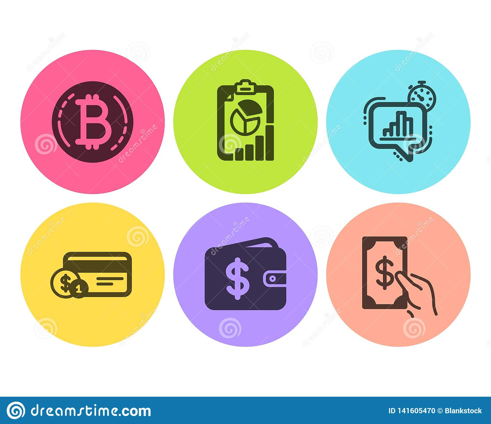 Statistics Timer, Dollar Wallet And Payment Method Icons Set