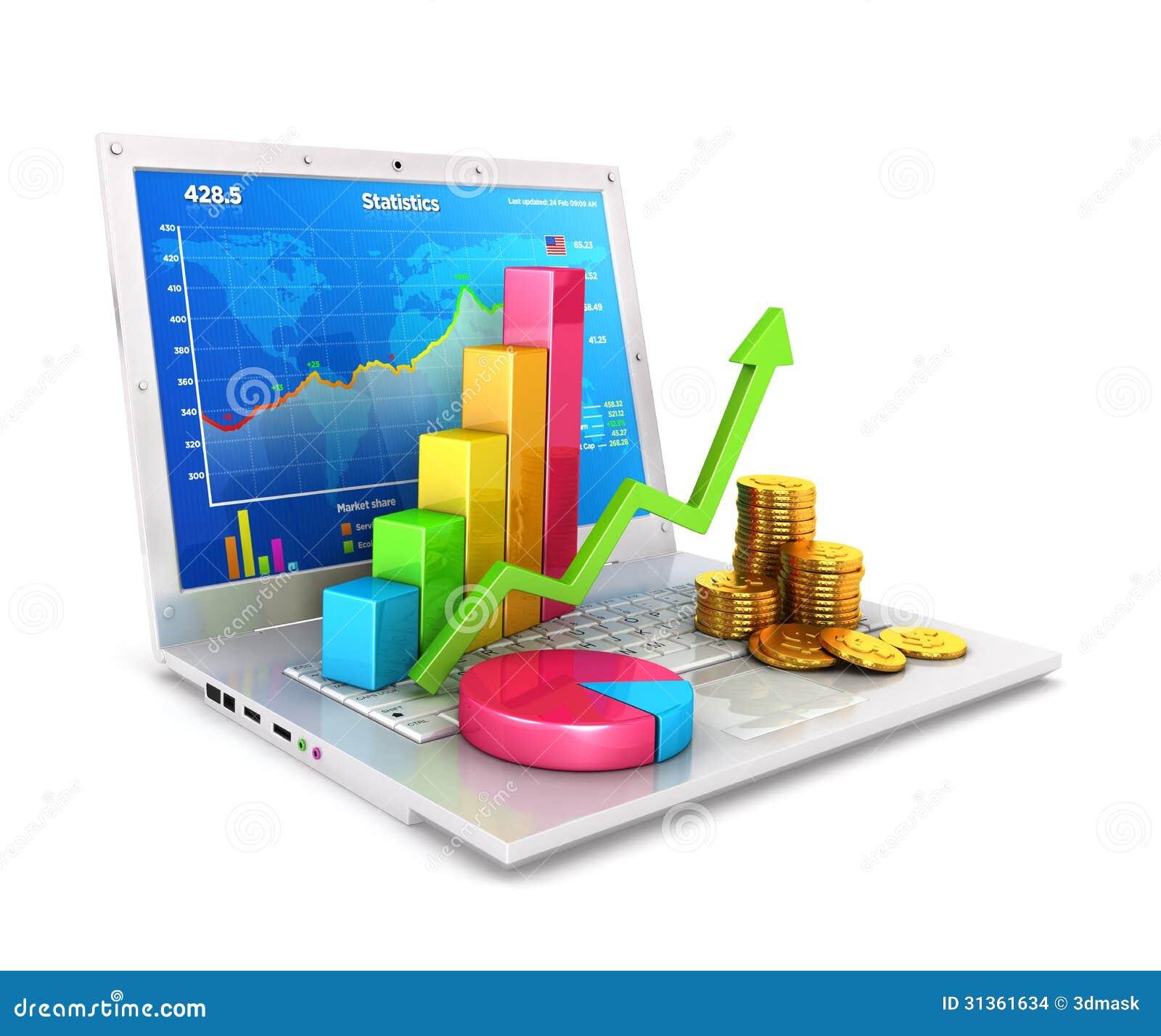 Statistiken 3d über Laptop
