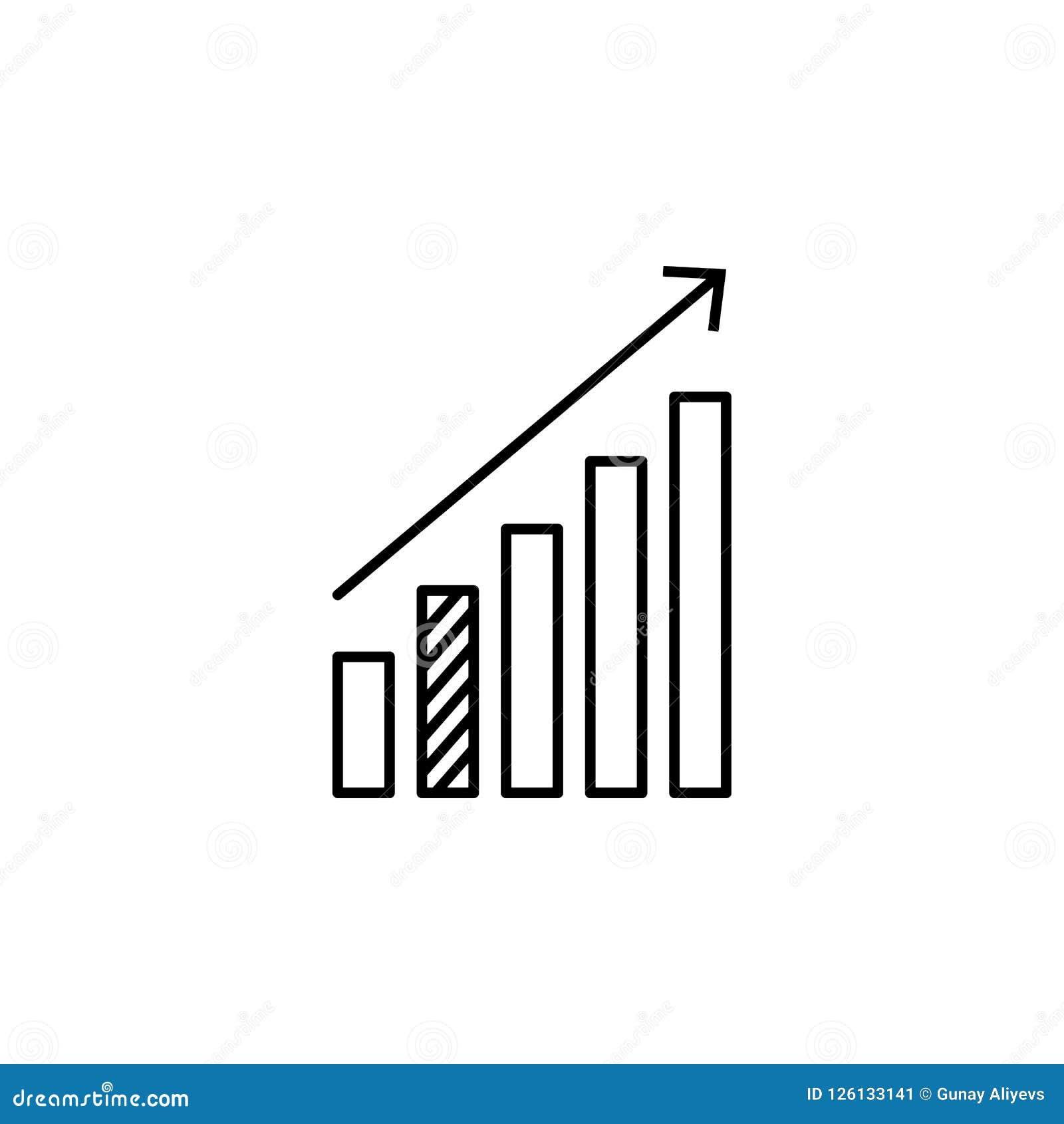 Statistiken up Pfeilikone Element von online und Netz für bewegliches Konzept und Netz apps Ikone Dünne Linie Ikone für Websitede