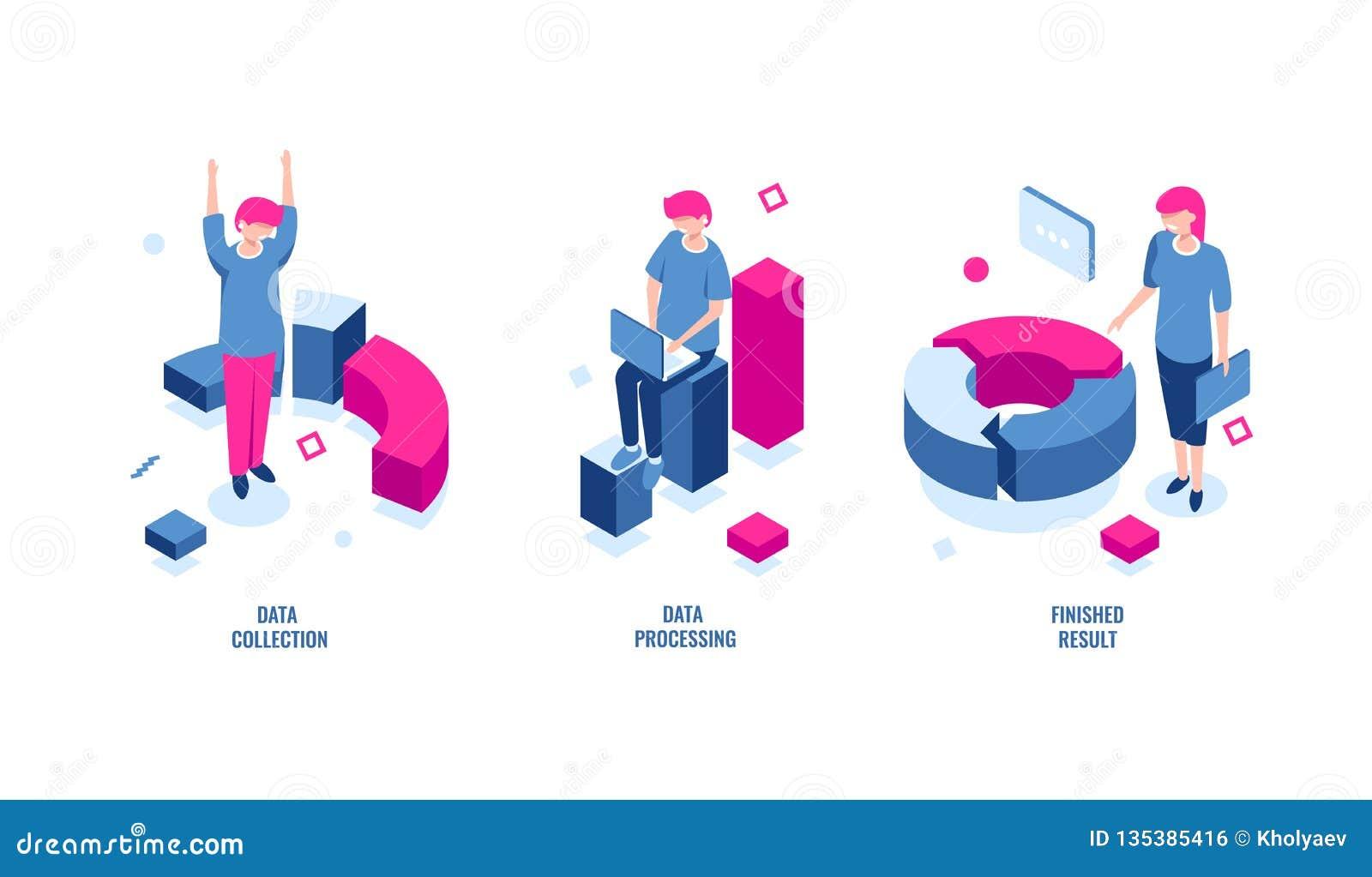 Statistiques commerciales, collecte de données et icône isométrique informatique, résultat de finition, diagramme de diagramme, r