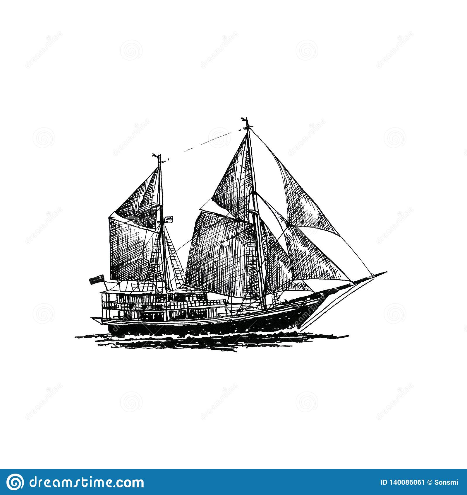 Statku żeglowania jachtu łódkowatego antykwarskiego rocznika atramentu ręki antykwarski czarny rysunek