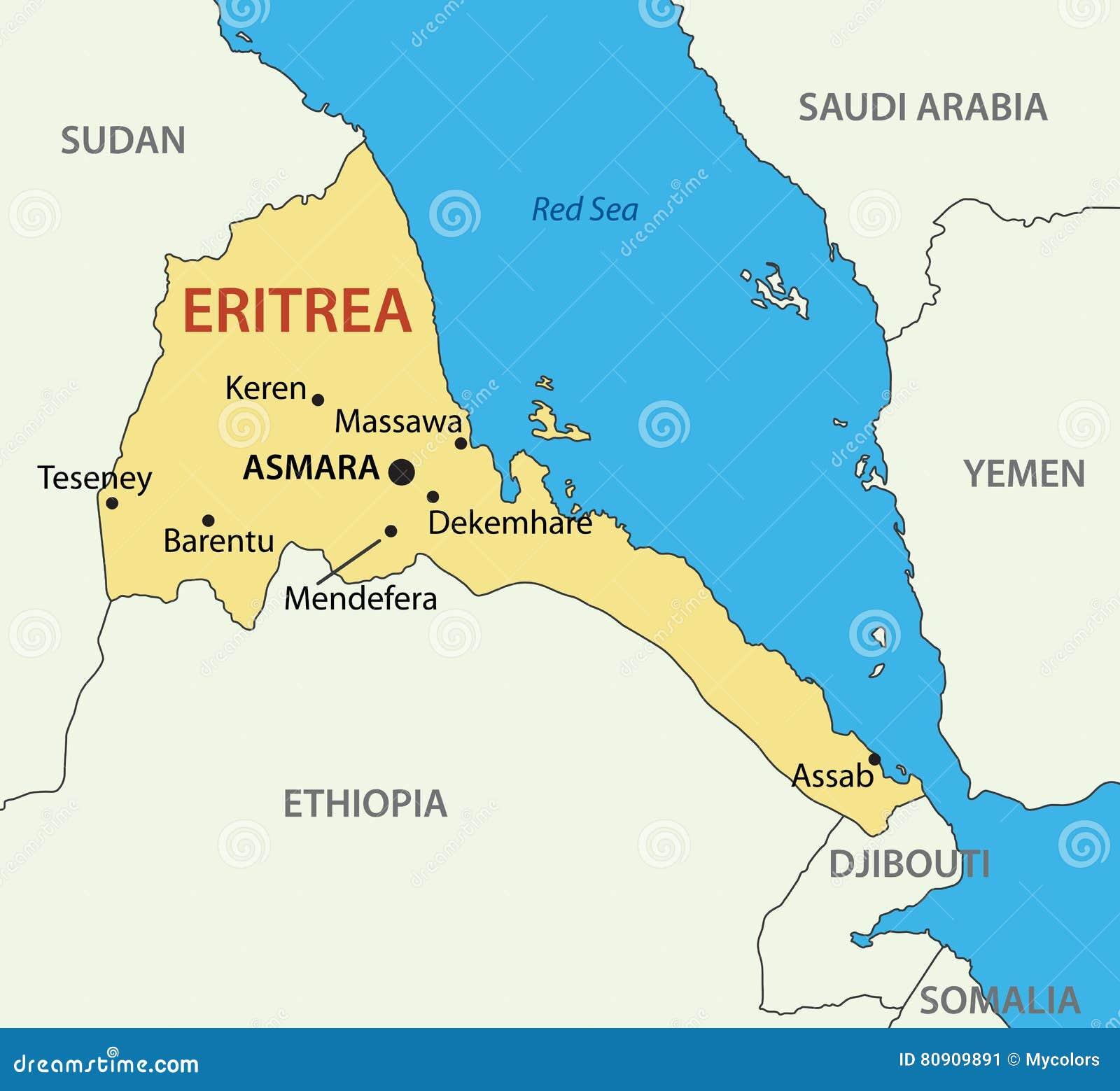 Cartina Eritrea.Stato Dell Eritrea Mappa Illustrazione Vettoriale Illustrazione Di Bordo 80909891