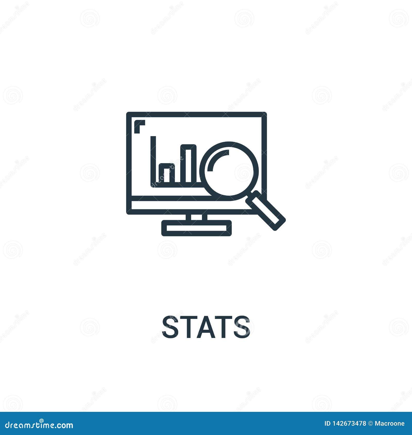Stats διάνυσμα εικονιδίων από τη συλλογή seo Η λεπτή γραμμή stats περιγράφει τη διανυσματική απεικόνιση εικονιδίων Γραμμικό σύμβο