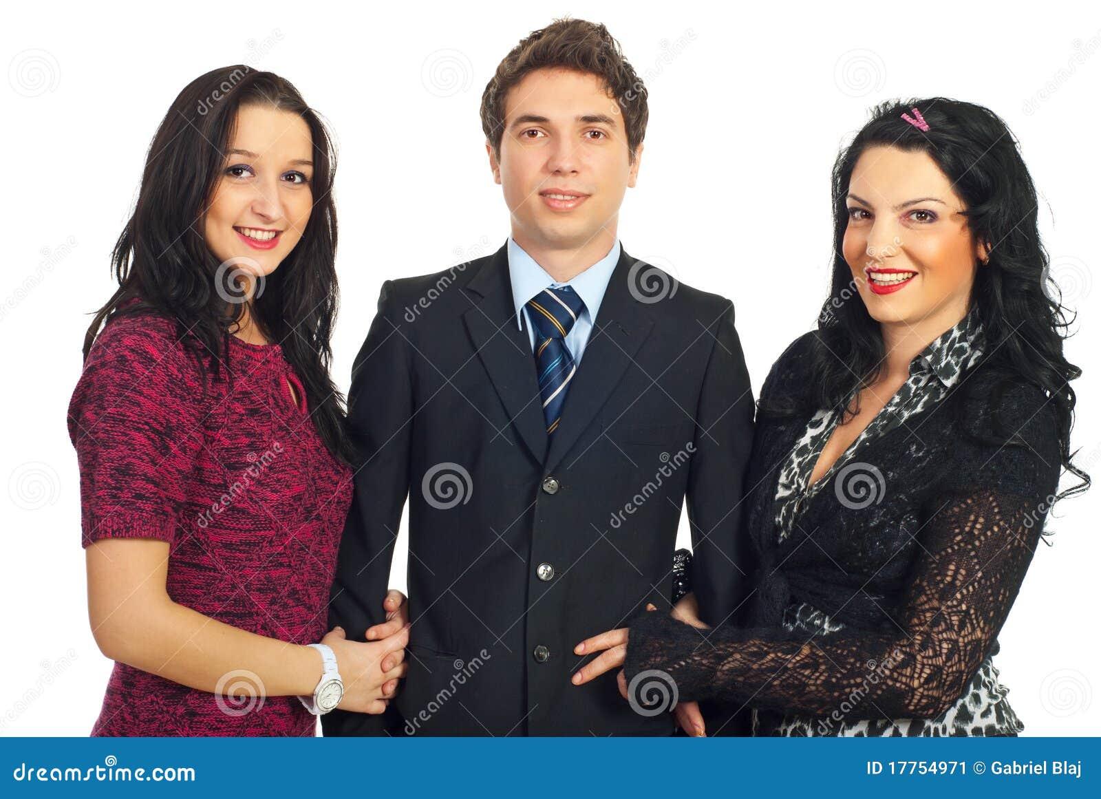 Zwei Elegante Frauen Und Ein Glückspilz
