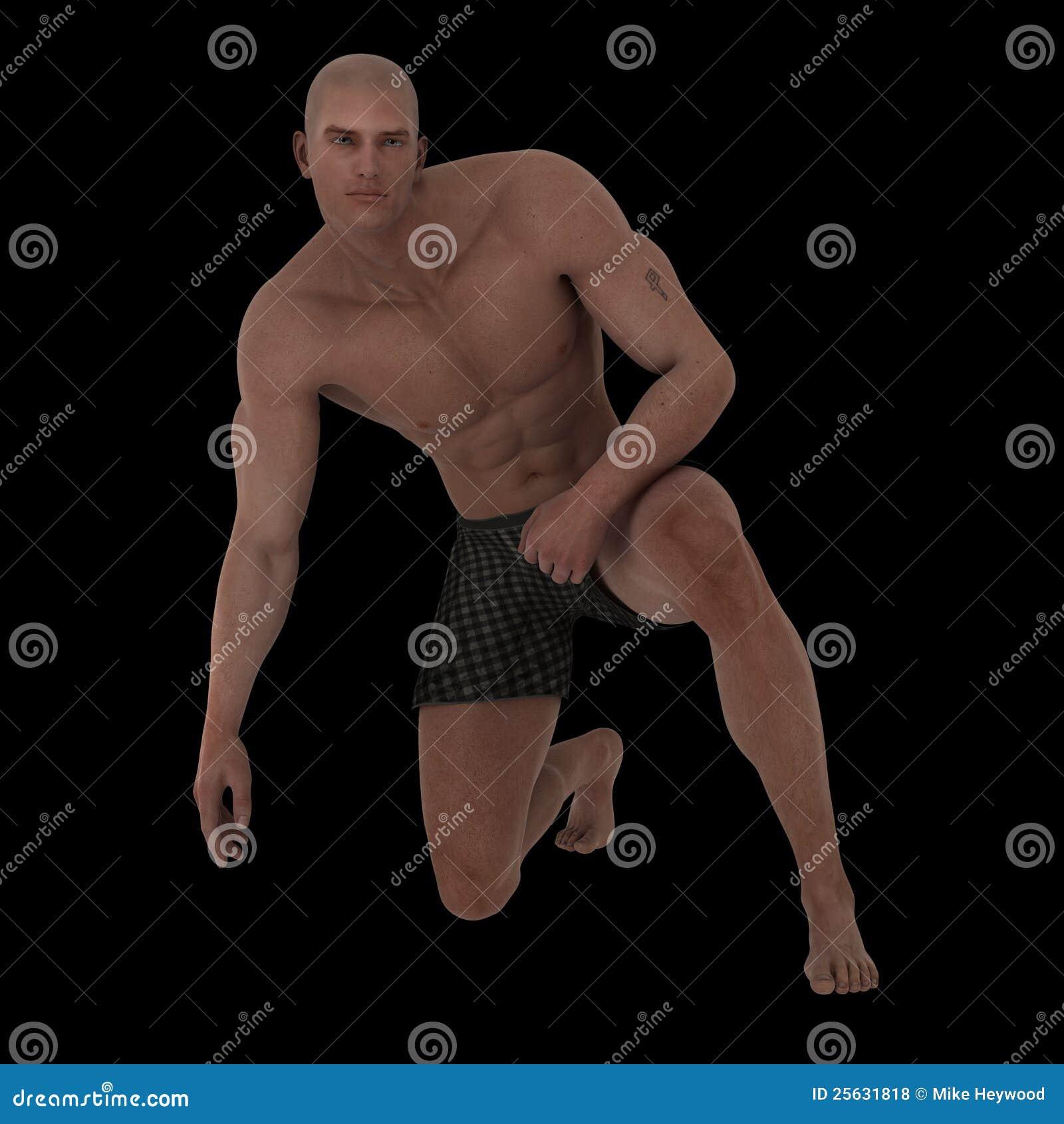 Stattlicher muskulöser junger Mann in den Boxern