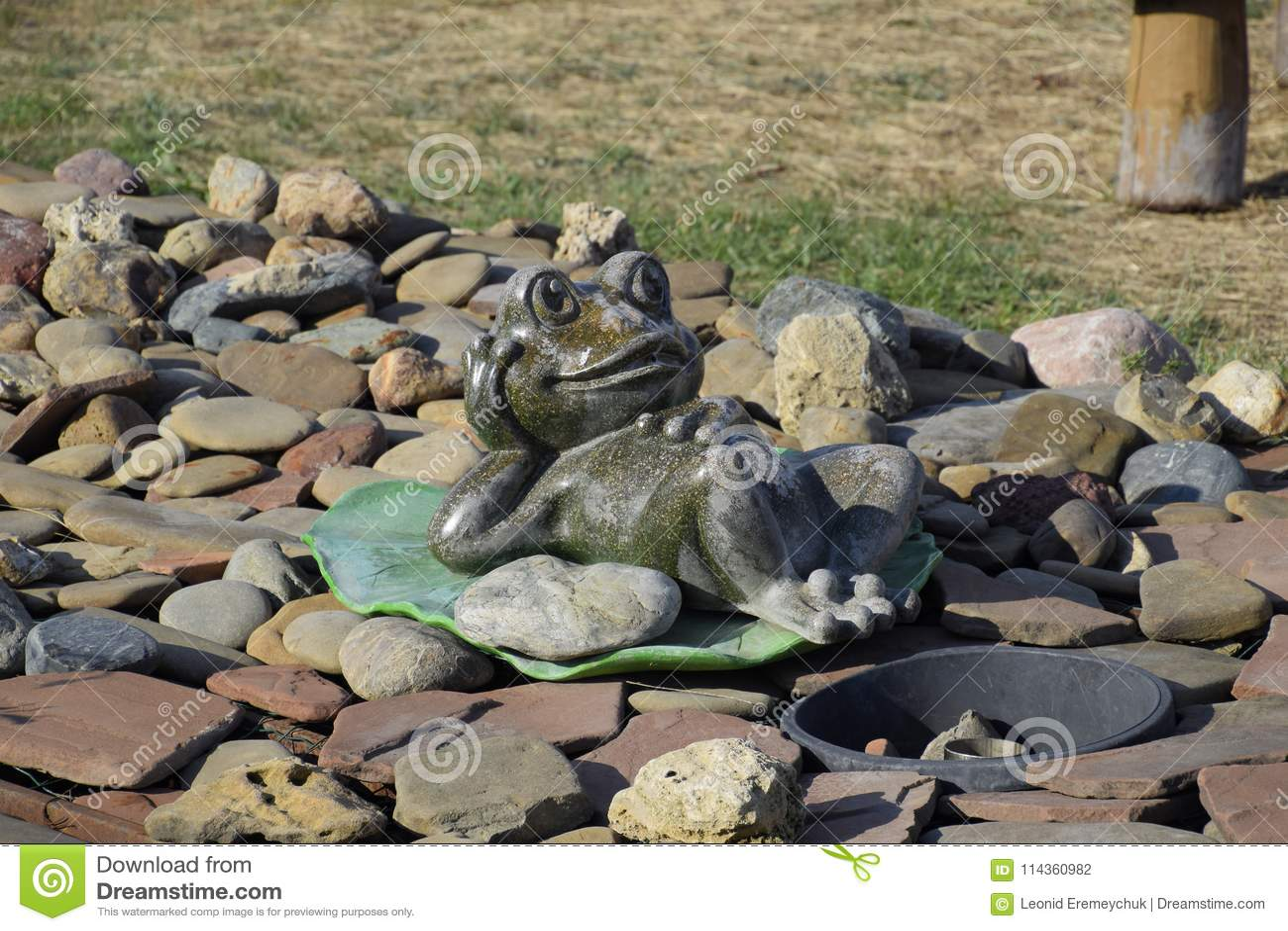 Statua żaba na wodnej lelui Statua na otoczakach