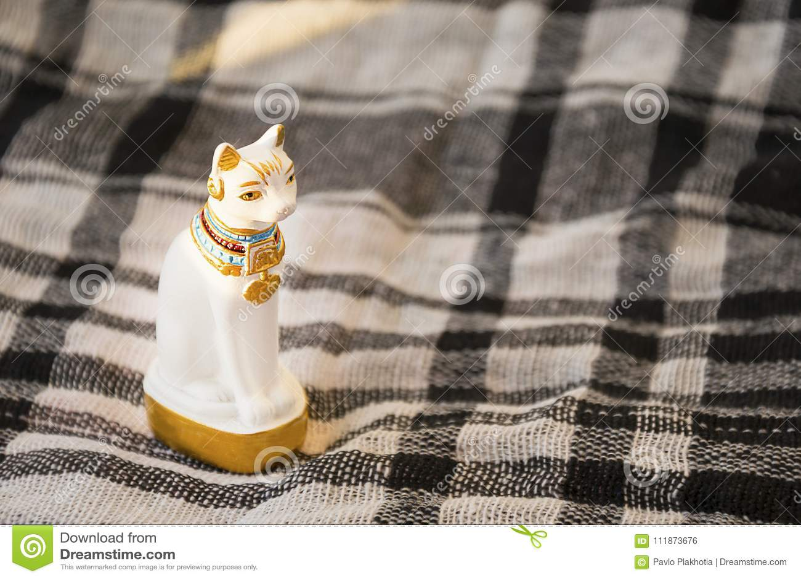 Statua Biały Egipt Kot Na Sprawdzać Koc Powierzchni Tradycyjny