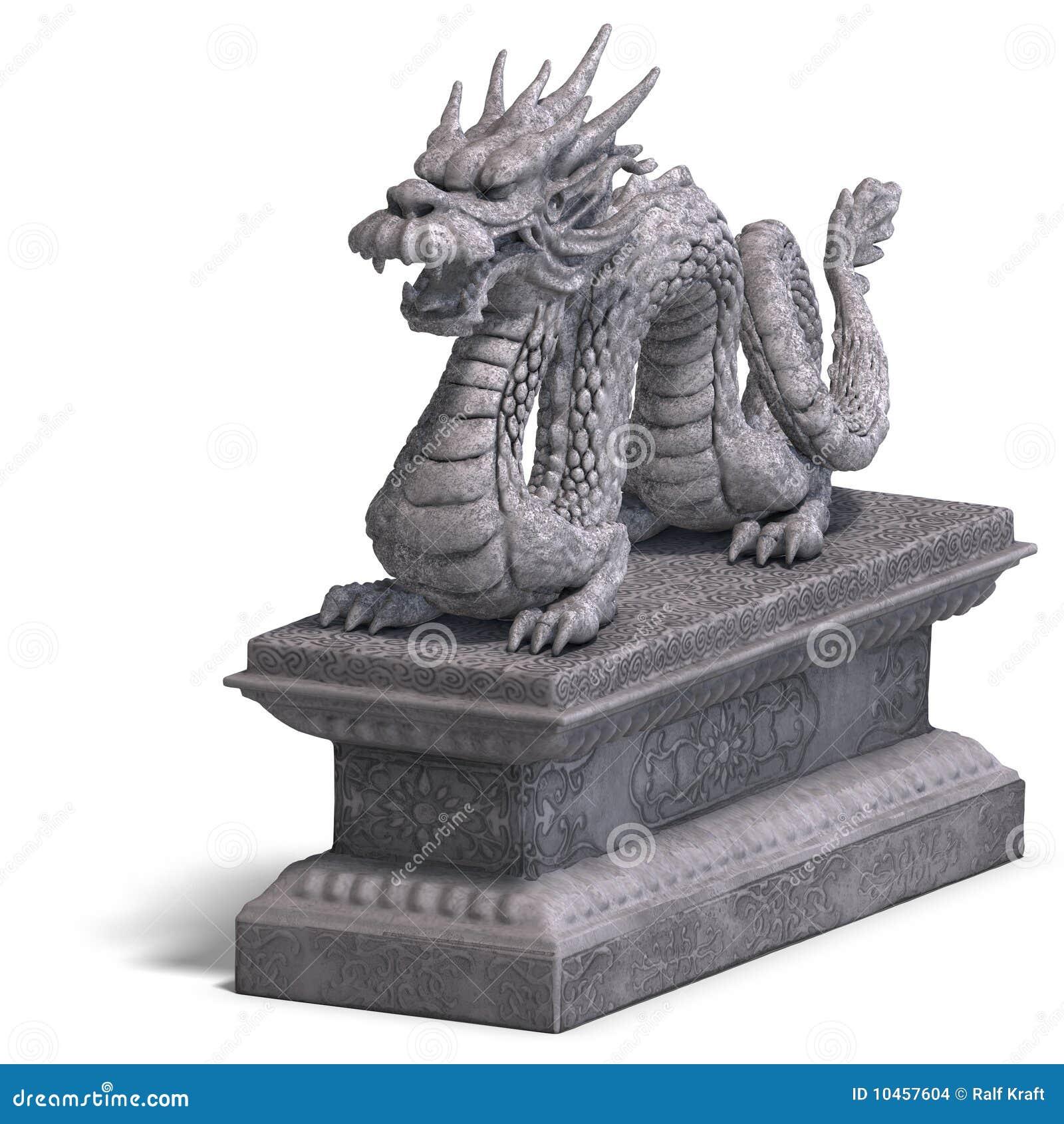 Statua Cinese Della Pietra Del Drago Immagini Stock ...