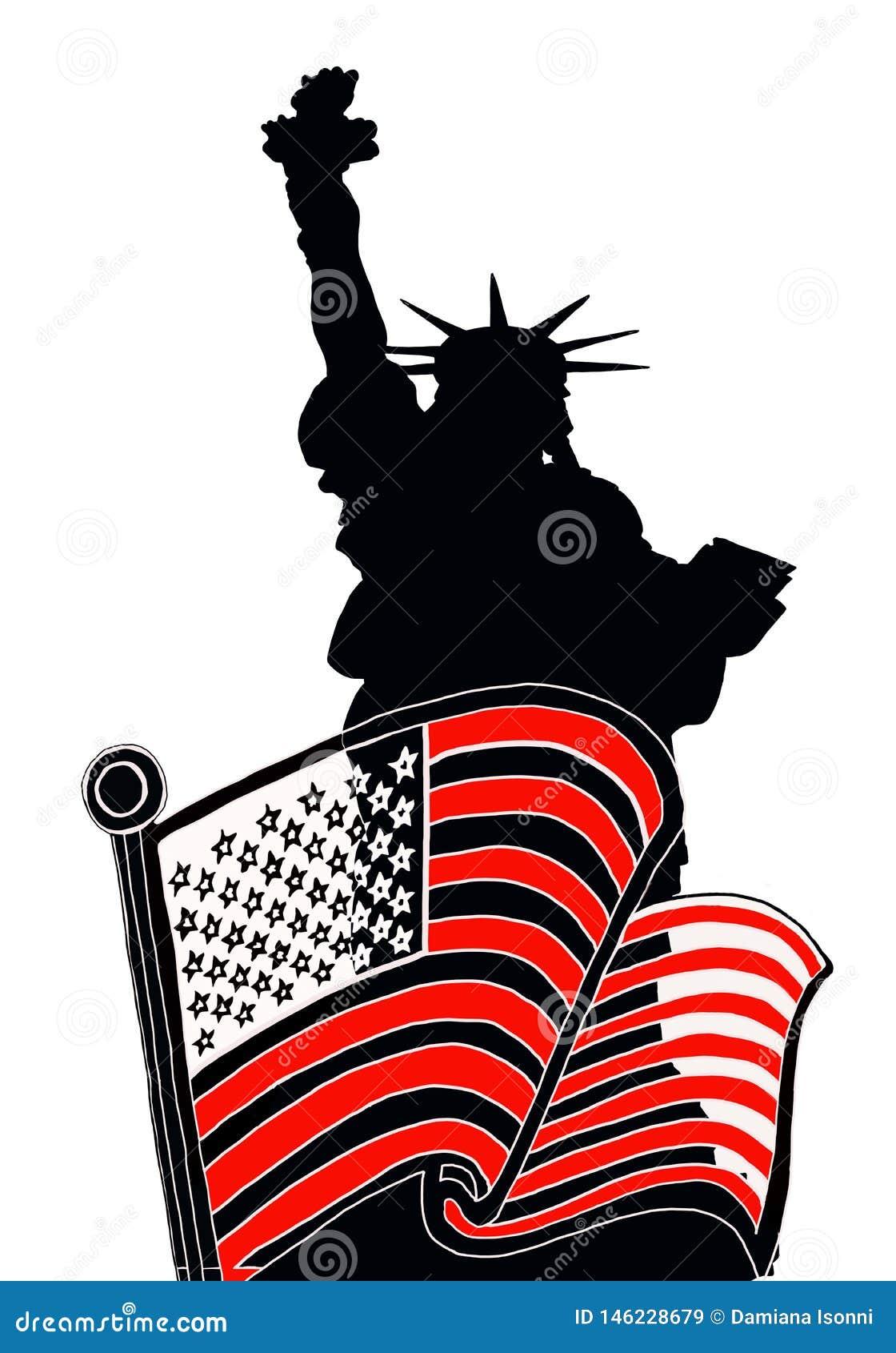 Statua di libert? con la bandiera americana
