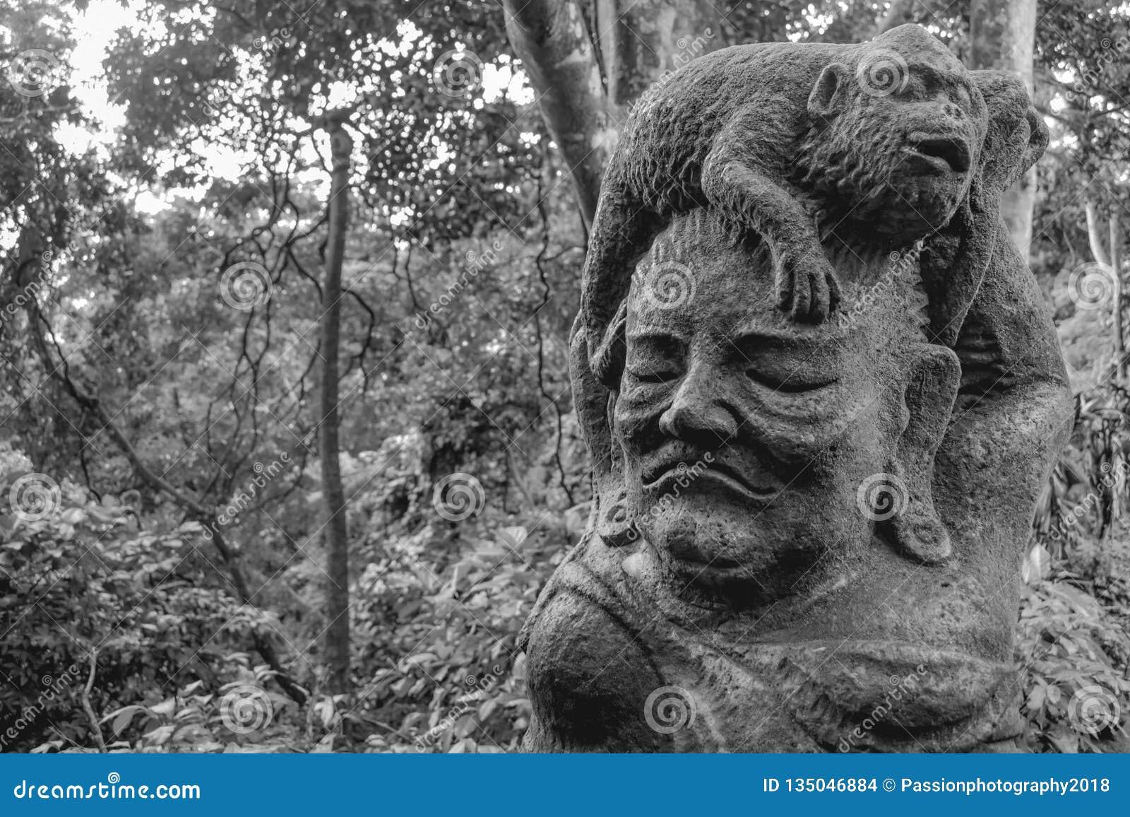 Statua małpi obsiadanie przy starej kobiety głową w sacret małpy lesie w Ubud Bali