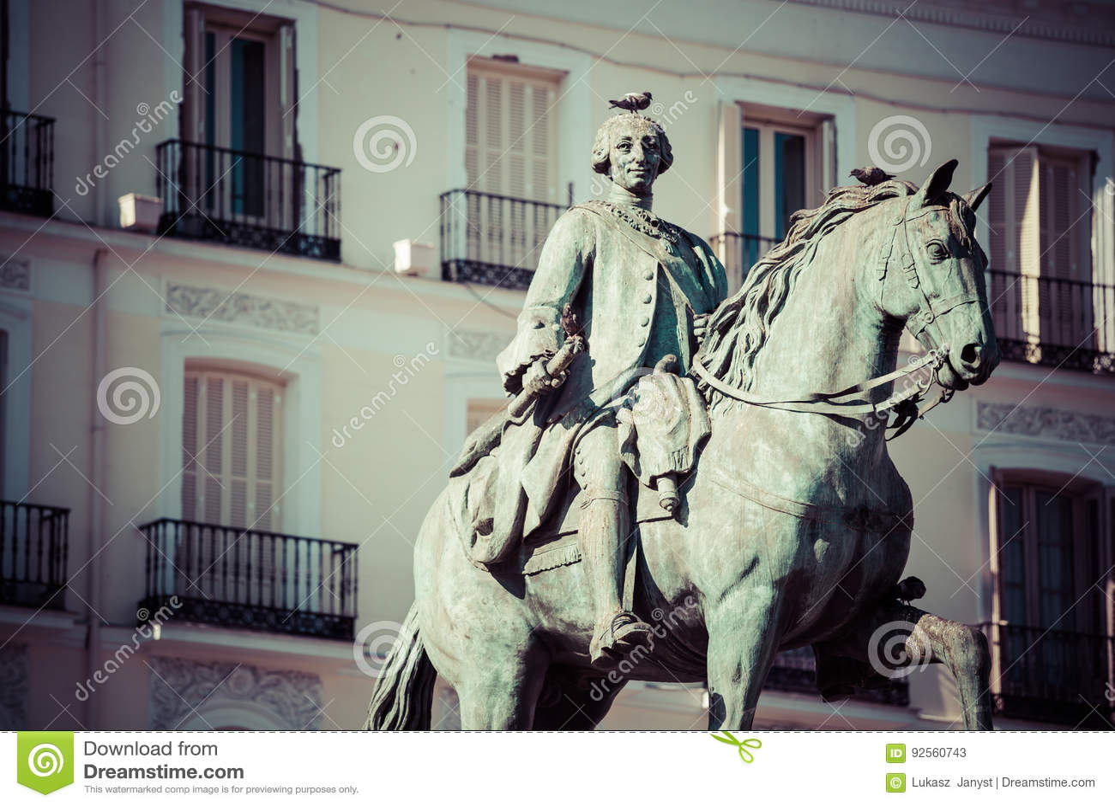 Statua Tio famoso Pepe Sign Puerta de dell equites di re Carlos III