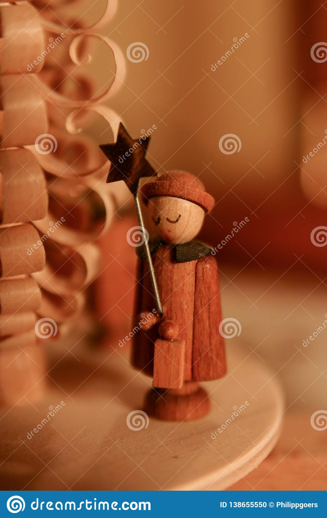 Statue of an angel at a christmas pyramid