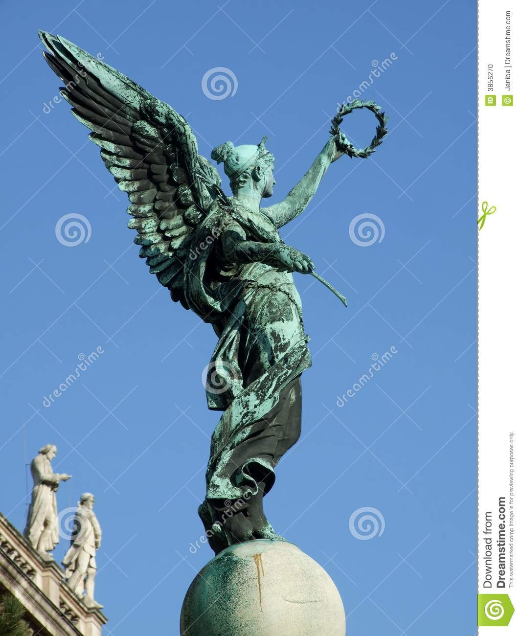 Statue Of An Angel With Wreath Stock Photo Image Of