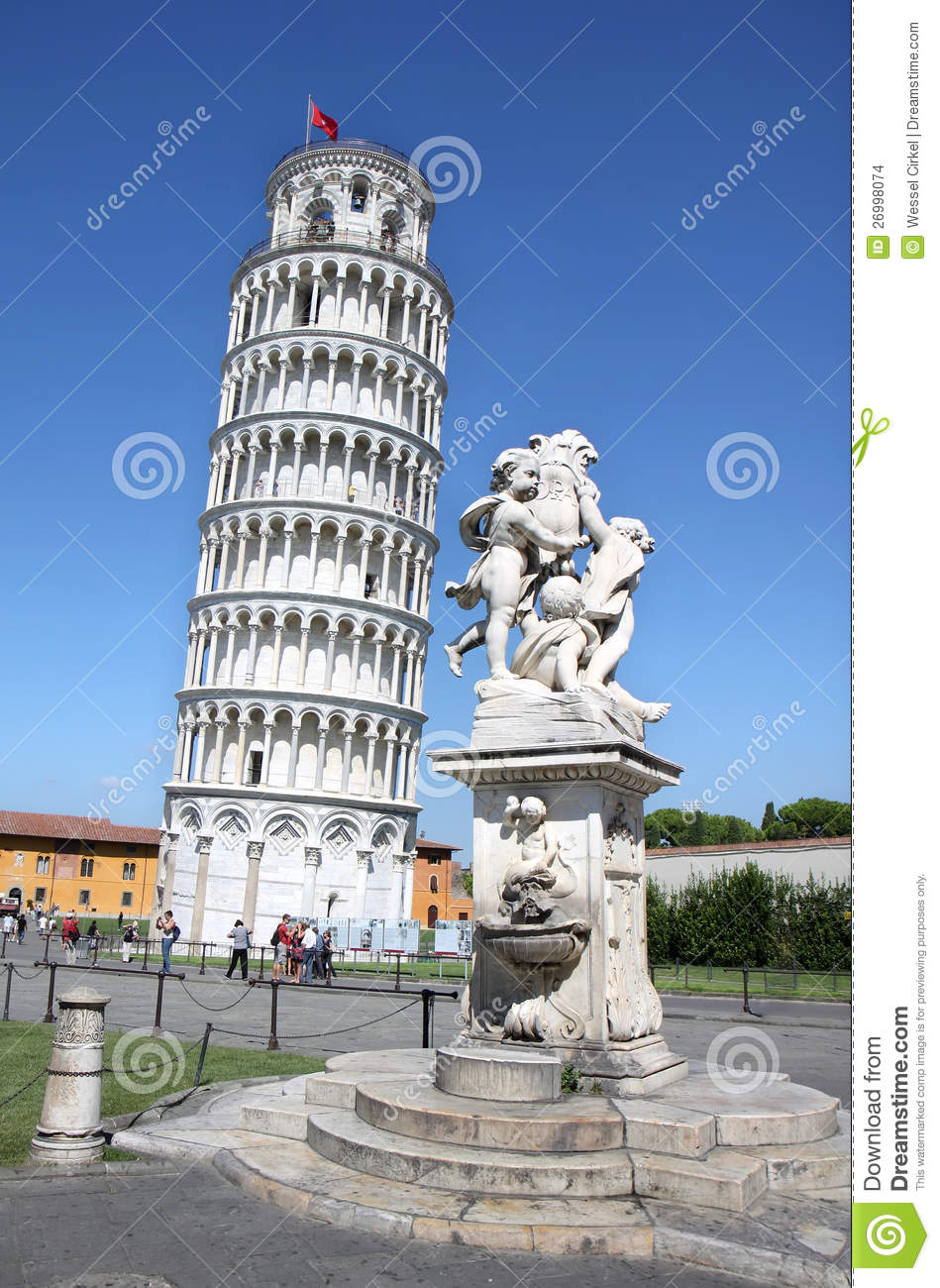 Statue Of Angels Near Leaning Tower Of Pisa Italy Editorial Stock Image Image 26998074