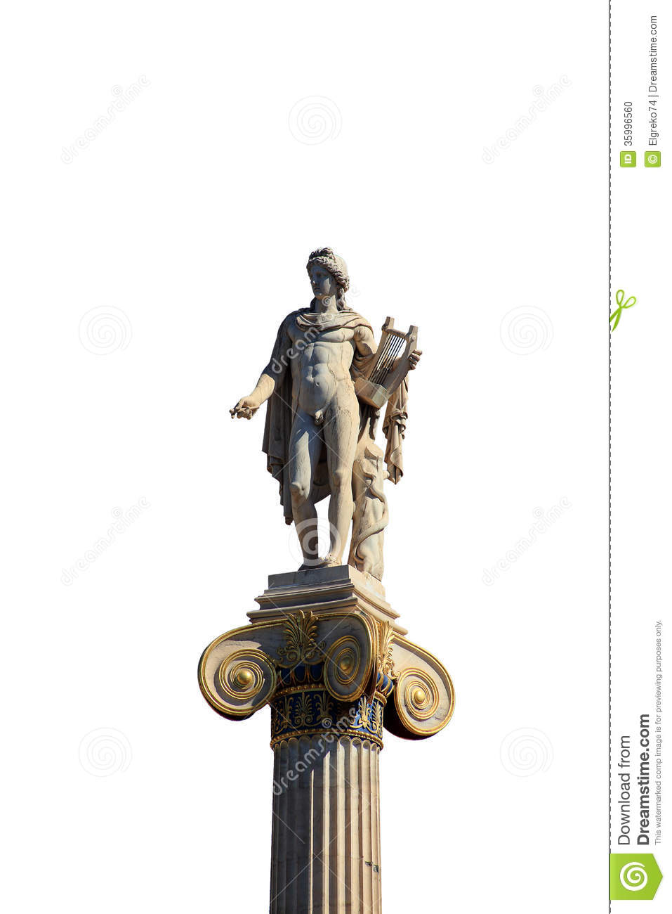 Statue of apollon on the top of the column isolated on for Apollon greek and european cuisine