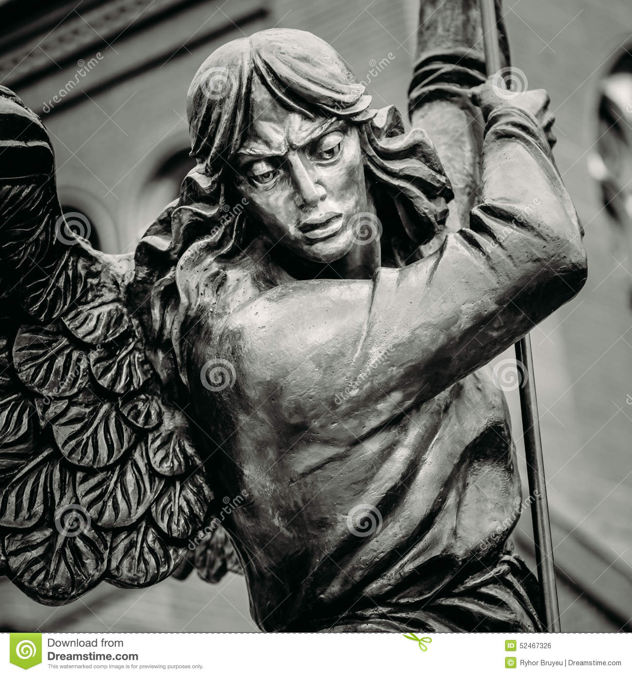 Statue Of Archangel Michael With Outstretched Stock Photo