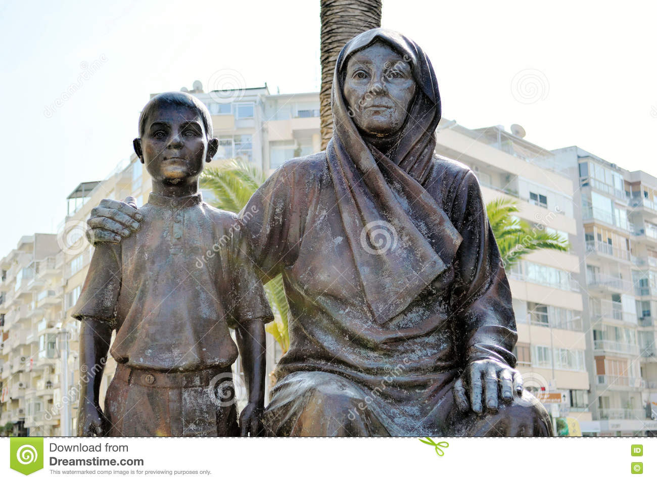 Statue Of Ataturk With His Mother, In The City Of Izmir