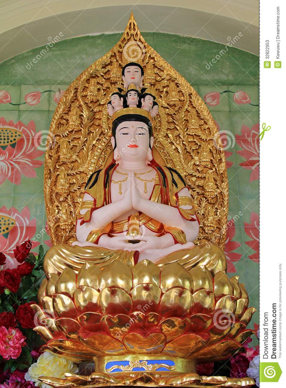 Statue Of Avalokitesvara Sitting On Lotus Flower Stock Image Image