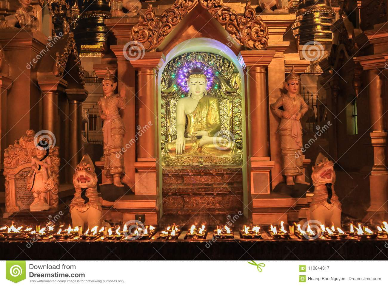 The Statue Of Buddha At Shwedagon Pagoda In Yangoon