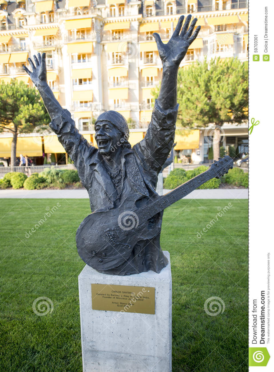 Montreux Jazz Festival 2015 >> Statue Of Carlos Santana In Montreux Editorial Photo - Image: 59703301