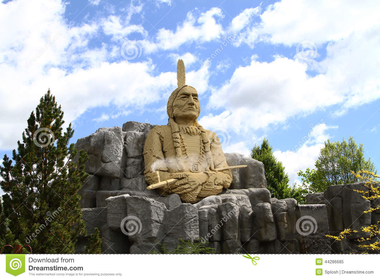 Statue Of Chief Sitting Bull Made In Lego Editorial Image