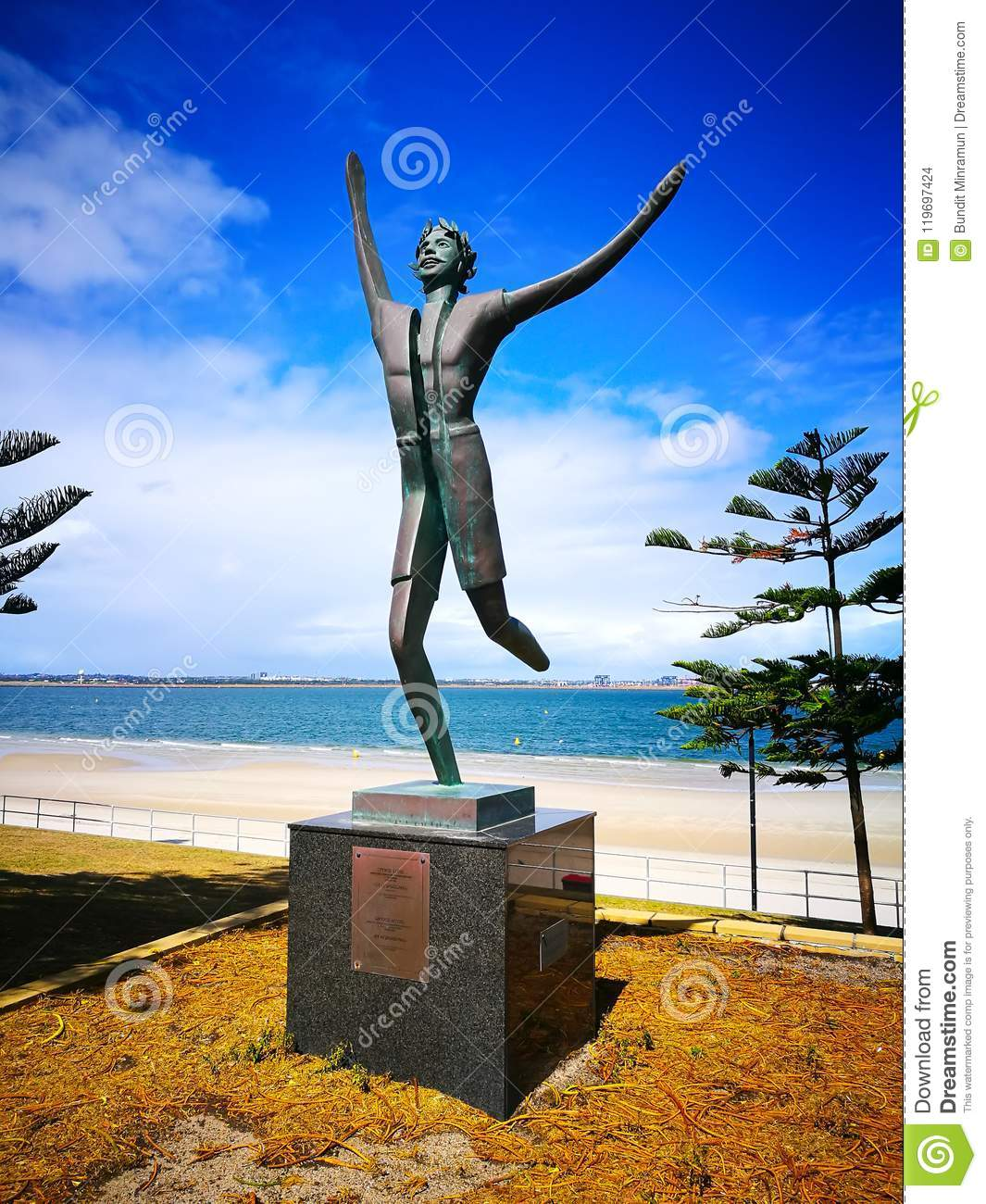 A statue commemorates Spyros Louis, winner of the first Olympic marathon in 1896. at Brighton-le-Sands.