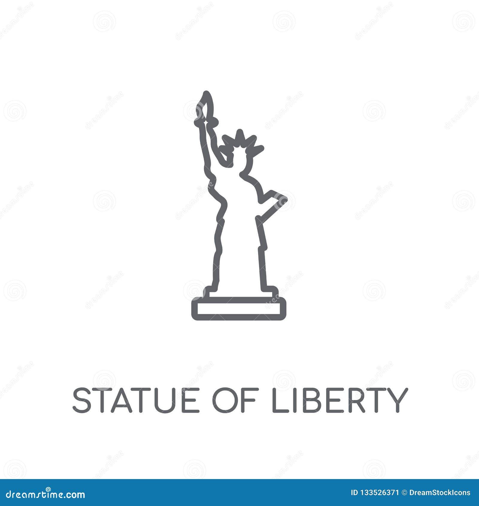 Statue d icône linéaire de liberté Statue d ensemble de la liberté moderne