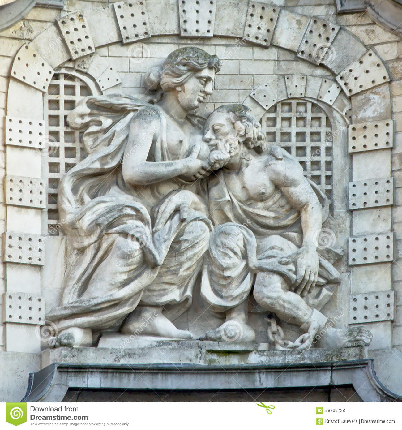 Statue By David 't Kindt, On The Ghent Linen Hall, Depicting The Legend Of  'Mamelokker' Stock Photo - Image of legend, ghent: 68709728