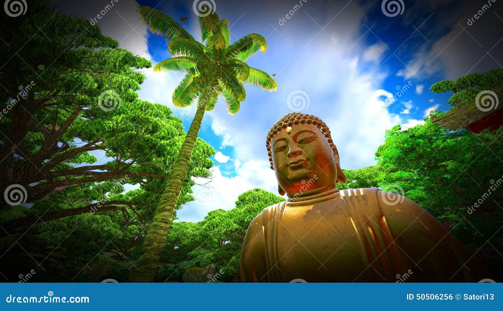 Statue de bouddha dans le jardin japonais illustration for Bouddha dans un jardin