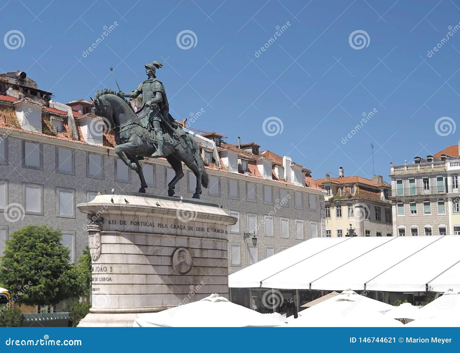Statue de cheval de Dom Joao ? Lisbonne au Portugal