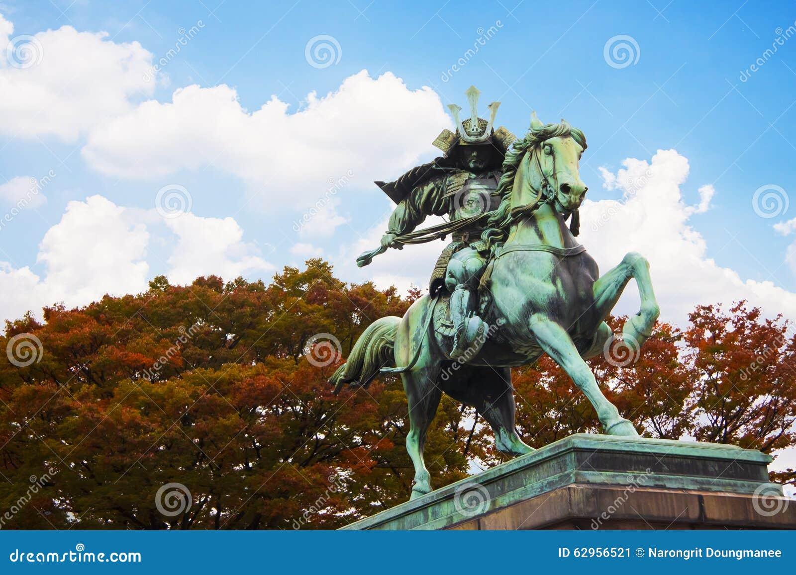Statue der großen Samurais Kusunoki Masashige am Ostgarten außerhalb Tokyo-Kaiserpalastes, Japan