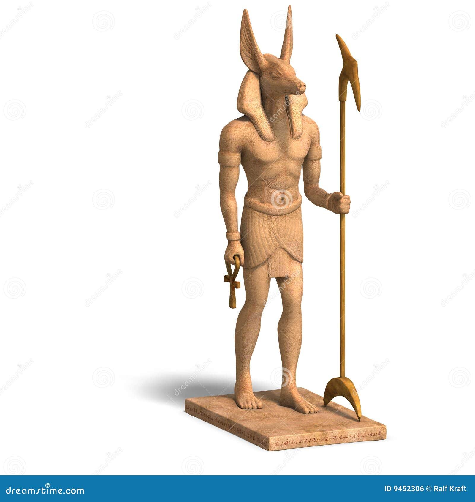 Statue Of Egyptian God Anubis Stock Illustration
