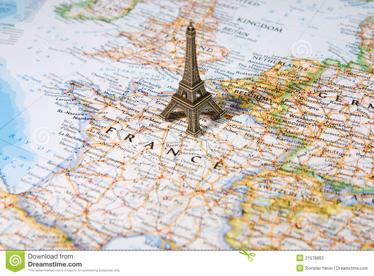 Statue Of Eiffel Tower On A Map Stock Photos - Image: 21578863