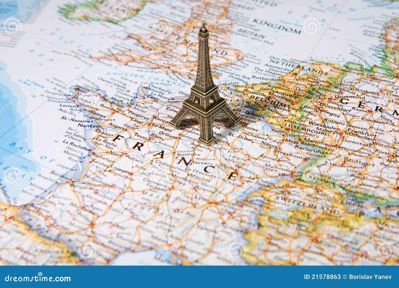 Paris Map Eiffel Tower