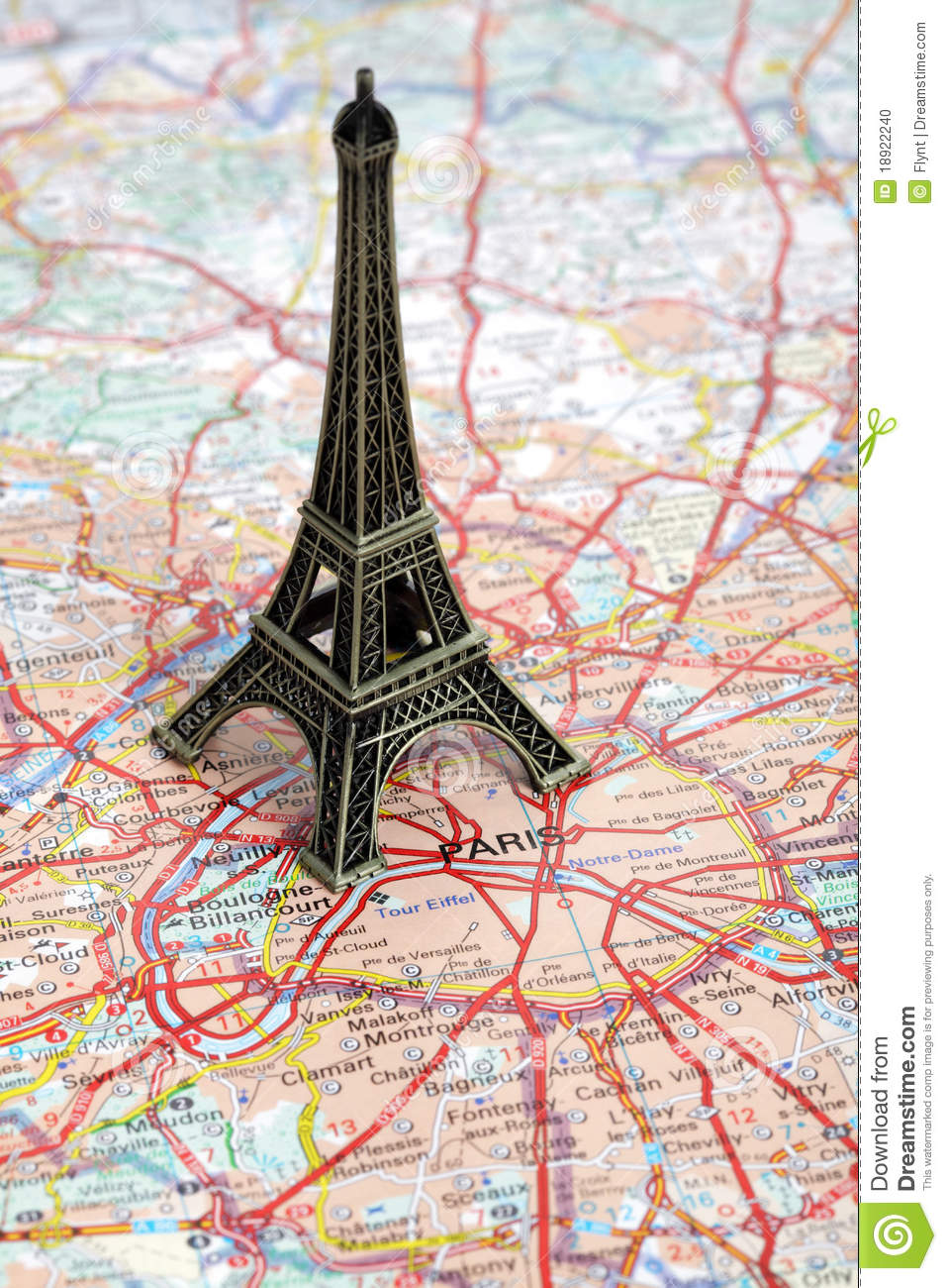 Statue Of Eiffel Tower On Map Of Paris Stock Photo - Image of statue ...