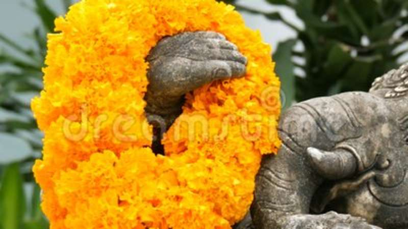 Statue Of Elephant In Flowers Close Up View Elephant Symbol Of